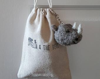 Needle felted Rhino keyring & pouch, needle felted animal, cute gift, endangered species, handmade, Rhino keychain, animal keyring, craft