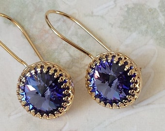 Tanzanite Crystal Earrings Swarovski Purple Crystal Earrings Purple Crystal Rhinestone Gold Crown Earrings Tanzanite Purple Earrings