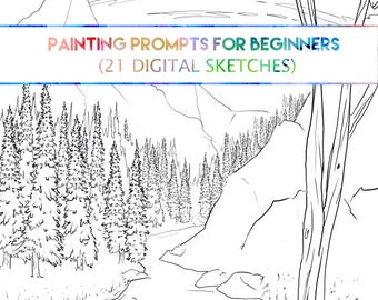Painting Prompts for Beginners (21 Digital Sketches)