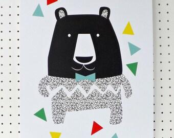 SALE Big Bear Print Black White Geometric Kids Nursery A3 Poster