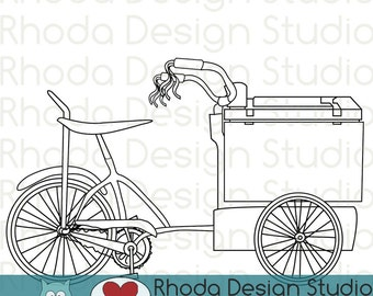 Retro Ice Cream Trike Bikes Digital Clip Art Vintage Bicycles Stamps - Line Art