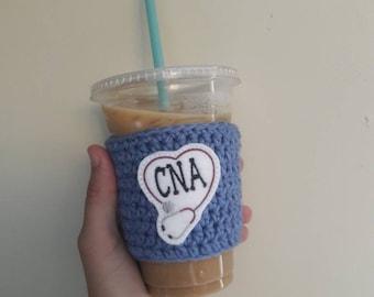 CNA gift, certified nursing assistant gift, nursing school graduation gift, CNA coffee cup cozy, to go mug cozy, eco friendly gift