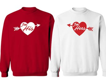 Valentines Day Couple Sweatshirts - I'm His & I'm Hers