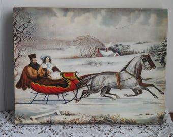 Vintage Springbok Currier & Ives The Road - Winter Jigsaw Puzzle 1975