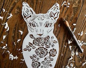 Sphinx cat Russian doll papercut template download