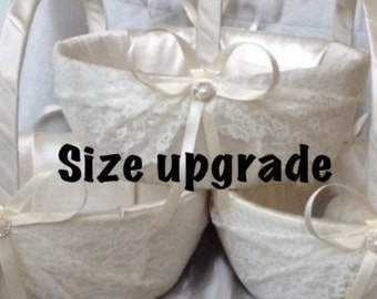 This is not a basket Add to your order (a size upgrade) for larger size wedding flower girl basket custom made