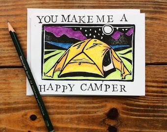 You Make Me A Happy Camper - Love Note - Blank Greeting Card - Valentine's Day Card - Outdoor Partner - Adventure Lover - Wanderlust - Camp