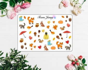 Autumnal stickers for Erin Condren, Happy Planner, Filofax, Scrapbooking etc