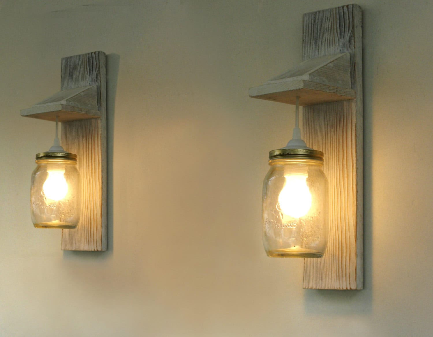 Pair of wall lamp reclaimed wood wall sconce mason jar zoom arubaitofo Gallery