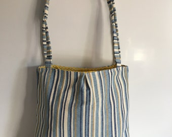 Blue, Gold and White Stripe Tote Bag