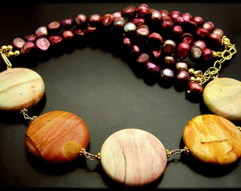 CRIMSON TIDE ~ African Jasper, Freshwater Pearl, 14kt Gold Fill Necklace