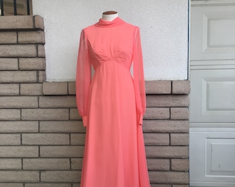 Vintage 70s Party Dress Emma Domb Coral Prom Dress Chiffon Formal Floor Length Gown Small