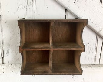 Wooden shelf with cubbies knick knack shelf hanging wood shelf vintage