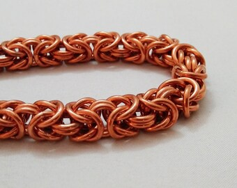 Handmade Chainmail Bracelet 16g Byzantine Solid Copper Maille Jewelry