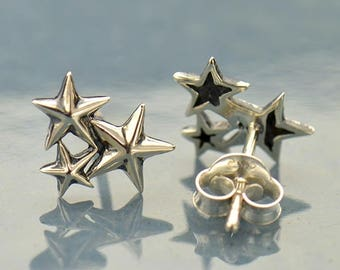 Silver Star Cluster Post Earrings. Oxidized Silver Star Cluster Stud Earrings. 925 Silver. Item 361.