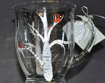 NEW Hand painted Birch tree & Cardinal Mug