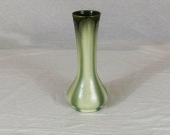 Vintage Ceramic Tall Flower Vase Made In Belgium  Green & White