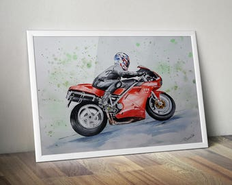Original watercolor painting, Ducati 996 painting, Original fine art