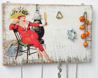Pin up girl Jewelry holder wall, jewelry organizer, necklace holder, jewelry hanger, wall jewelry holder, jewelry display, jewelry storage