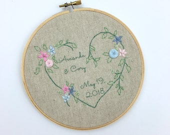 Hand Embroidered Wedding Gift Embroidery Hoop Art Anniversary Gift Under 50 Hand Stitched Personalized Wall Art Home Decor You Pick Colors