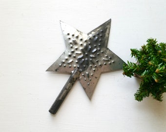Vintage Punched Tin Star Tree Topper . Old Tree Topper . Punched Tin Star . Farmhouse Style . Rustic Cottage Cabin . Home Decor . Garden