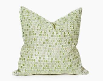 Green Patio Pillow, Green Pillow, Patio Cushion, Outside Pillow Covers, Designer Pillow, Circles, Dots, Green Cushions, 14x20, 18x18, SALE
