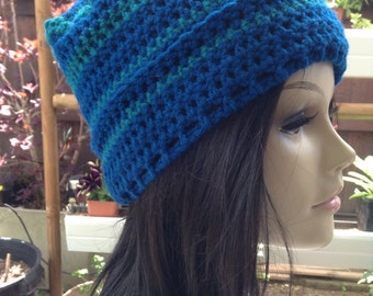 Blue Crochet Slouch Hat-Dreadcap