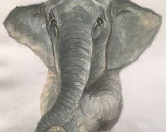 Watercolor Painting of Elephant lying down