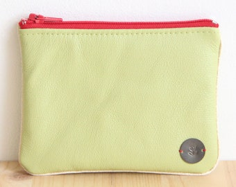 Cardholder in Recycled Lime green Leather / Red zipper Women Pouch / Strawberry large wallet / Mother day personalize gift / Birthday / PC41