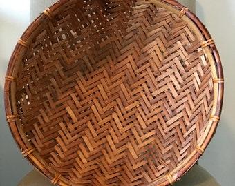 Large wicker and rattan hanging basket, large round wall basket, vintage rustic  wall basket, large bamboo winnowing basket, plant basket,