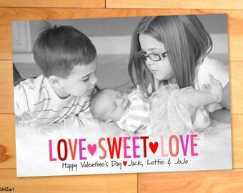 Childrens Valentine Photo Card, Hearts, Custom Photo Card, Rainbow, Big Block Letters