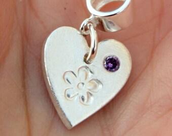 Silver heart birthstone charm, Pandora birthstone heart charm, birthday gift charm, silver heart charm, tiny heart charm, february charm