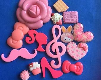 Kawaii pink  cabochon craft decoden Deco diy charm mix # 103 pink 15 pcs---USA seller