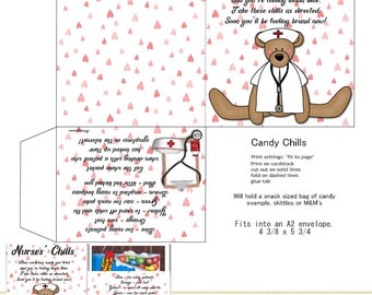 PRINT YOUR OWN Nurses' Chocolate Chills For Snack Sized M&M Bagged Candy