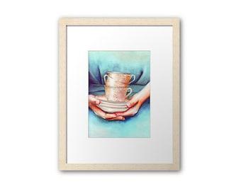 Print of teacups. Watercolor art by Helga McLeod HM083