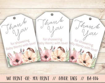 Baby Shower Tag, Floral Baby Shower, Baby Shower Gift Tag, Floral Baby Shower Favor Tag, Baby Shower Thank You, Thank You Tag