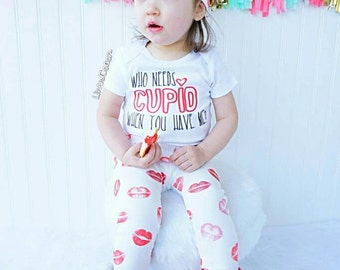 Who Needs Cupid Valentines Day Baby Outfit, Boy Valentines Day Outfit, Girls Valentine Shirt, Valentines Day Clothing, Clothes, Liv & Co.™