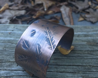 Wide Copper Cuff Bracelet - Rustic BOHO Bohemian Stamped Feather Pattern - 7th Wedding Anniversary Gift For Her (for small wrist)