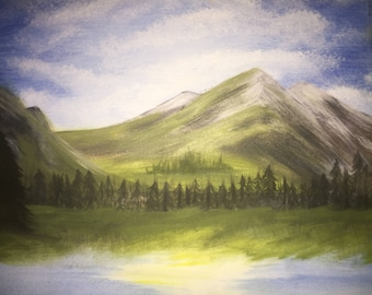 Mountain, Forest, and Lake Nature Painting (Bob Ross Inspired)