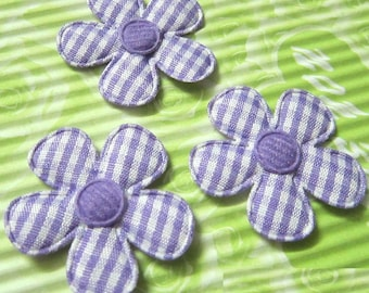 LOT 5 flowers purple embellishment 35mm 128 white gingham fabric