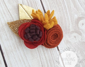 Fall Red, Rust, Orange Felt Flowers with Gold Leaves Headband or Clip for Baby, Child, Teen, or Adult