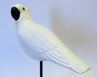 White Parrot on Stick - Hand Carved and Painted Wood Ornament as Antique Table Decoration (no 134)