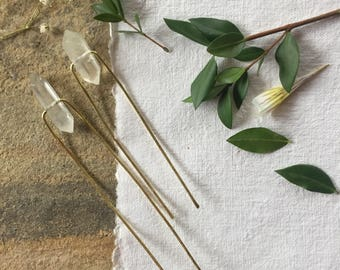 Crystal Quartz Hair Pin, Basic Hair Pin, Metal Hair Stick, Simple Hair Pin, Gift for Her