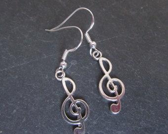 Treble clef musical note earrings,  925 Sterling silver ear wires , gift for her, music earrings, novelty earrings,