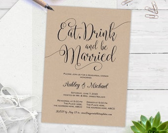 Eat drink and be married, rustic, rehearsal dinner ,Printable invitations, invitation templates, instant download, editable text, BS5