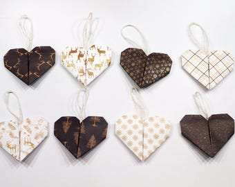 4x Origami Heart Christmas Tree Decorations - Gold/Brown
