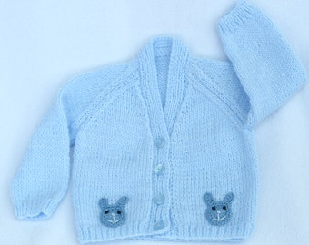 Hand knitted baby clothes. Blue baby cardigan to fit 3 to 6 months. Knit baby sweater, baby boy clothes baby shower gift, baby boy gift