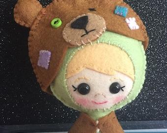 Made to Order Merino Wool Felt Doll: Girl in Bear Costume