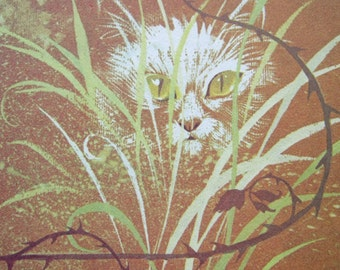 Cat and Mouse Art Vintage 70s Illustration Cat Lover Gift Cat Print Nursery Decor Artwork Cat Art Print