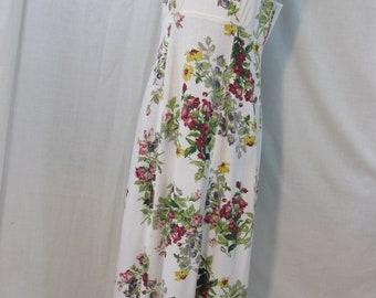 vintage summer/spring dress,maxi ,minimal, sundress,boho,beach wedding frock,tank top dress,floral,jumper, womens 6,Made in USA.cotton,long